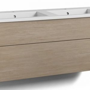 Alaosa Forma 120x45 Square-kaksoispesuallas 2 laatikkoa vaalea tammi