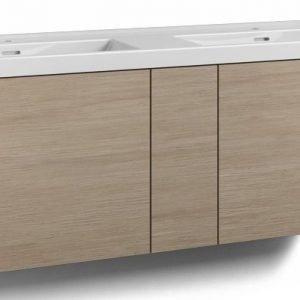 Alaosa Forma 140x45 Wave-kaksoispesuallas 2 laatikkoa/1 push open -ovi vaalea tammi