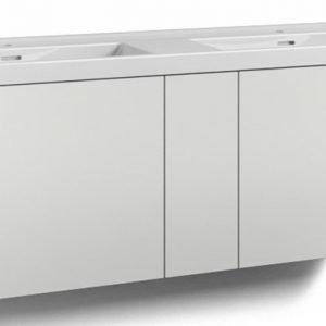 Alaosa Forma 140x45 Wave-kaksoispesuallas 2 laatikkoa/1 push open -ovi valkoinen