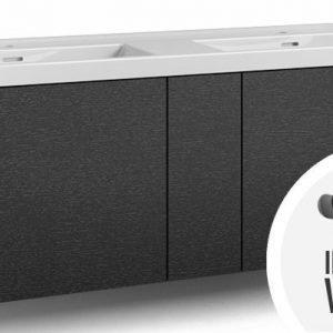 Alaosa Forma 140x45 Wave-kaksoispesuallas 2 laatikkoa/1 push open -ovi/integroitu vedin 8 musta tammi