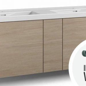 Alaosa Forma 140x45 Wave-kaksoispesuallas 2 laatikkoa/1 push open -ovi/integroitu vedin 8 vaalea tammi