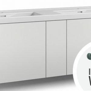 Alaosa Forma 140x45 Wave-kaksoispesuallas 2 laatikkoa/1 push open -ovi/integroitu vedin 8 valkoinen