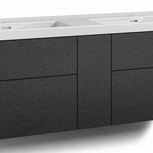Alaosa Forma 140x45 Wave-kaksoispesuallas 4 laatikkoa/1 push open -ovi musta tammi