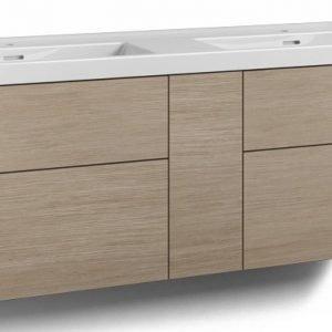 Alaosa Forma 140x45 Wave-kaksoispesuallas 4 laatikkoa/1 push open -ovi vaalea tammi