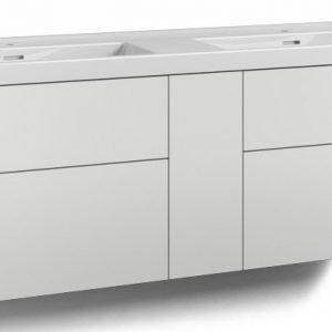 Alaosa Forma 140x45 Wave-kaksoispesuallas 4 laatikkoa/1 push open -ovi valkoinen