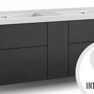 Alaosa Forma 140x45 Wave-kaksoispesuallas 4 laatikkoa/1 push open -ovi/integroitu vedin 7 musta tammi