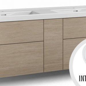 Alaosa Forma 140x45 Wave-kaksoispesuallas 4 laatikkoa/1 push open -ovi/integroitu vedin 7 vaalea tammi