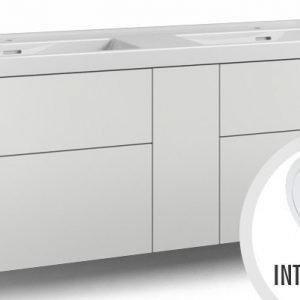 Alaosa Forma 140x45 Wave-kaksoispesuallas 4 laatikkoa/1 push open -ovi/integroitu vedin 7 valkoinen