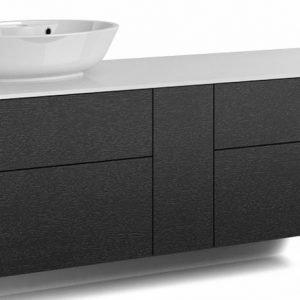 Alaosa Forma 140x45 + taso + pesuallas 4 laatikkoa/1 push open -ovi musta tammi