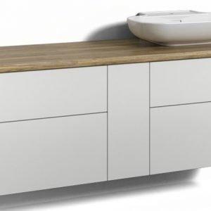 Alaosa Forma 140x45 + taso + pesuallas 4 laatikkoa/1 push open -ovi valkoinen