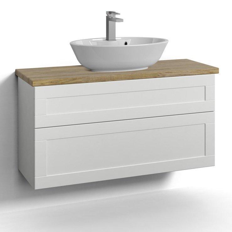 Allaskaappi Svedbergs Stil pöytätasolla ja malja-altaalla 100x35 valkoinen kehys