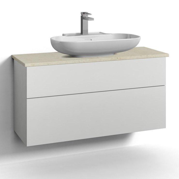 Allaskaappi Svedbergs Stil pöytätasolla ja malja-altaalla 100x35 valkoinen