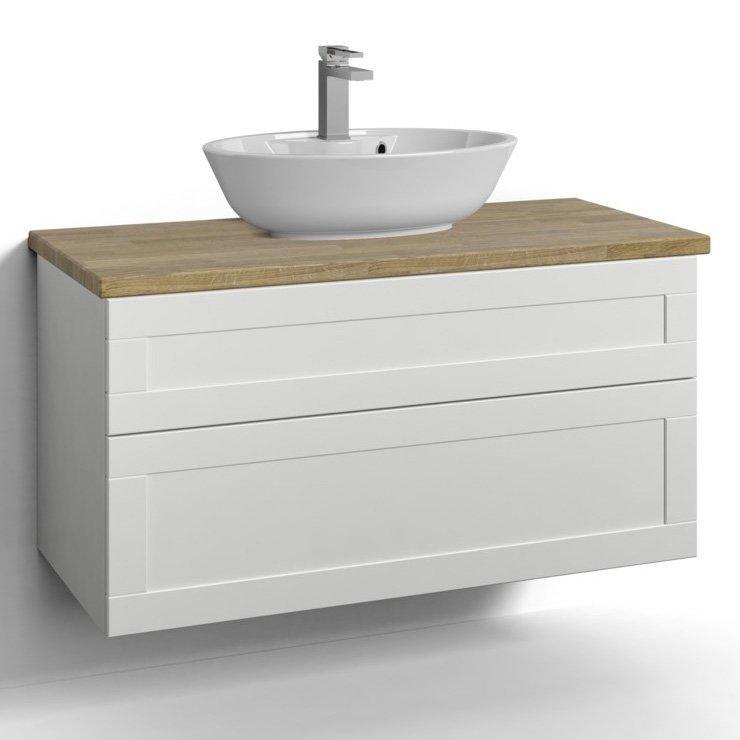 Allaskaappi Svedbergs Stil pöytätasolla ja malja-altaalla 100x45 valkoinen kehys