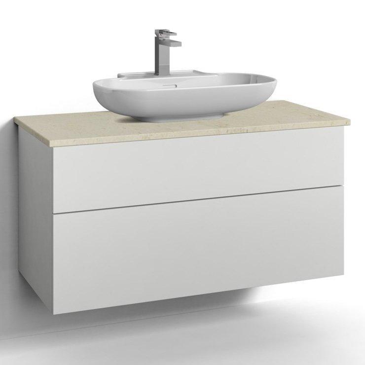 Allaskaappi Svedbergs Stil pöytätasolla ja malja-altaalla 100x45 valkoinen