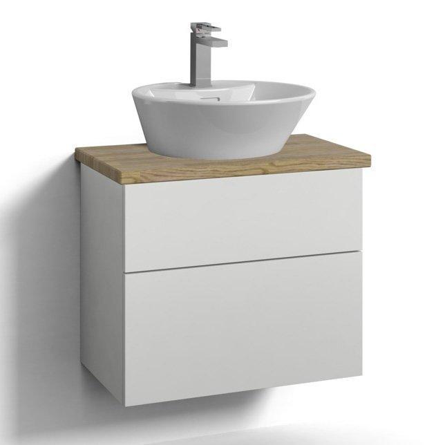Allaskaappi Svedbergs Stil pöytätasolla ja malja-altaalla 60x35 valkoinen