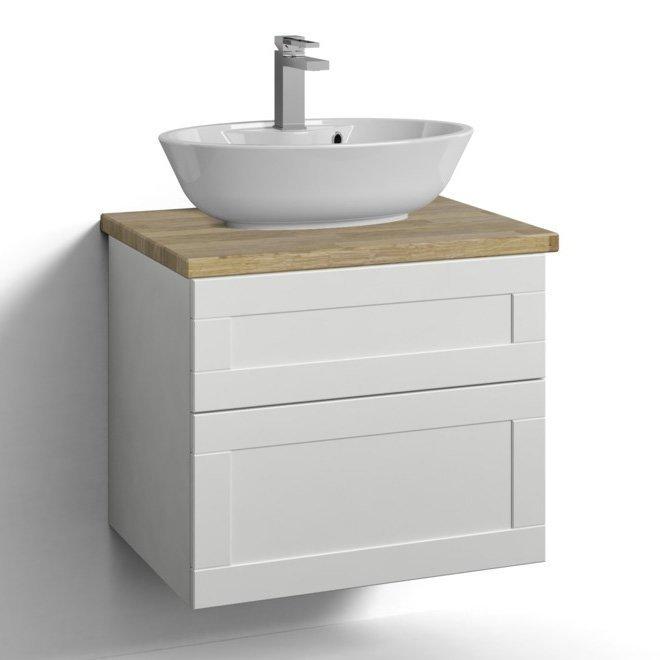 Allaskaappi Svedbergs Stil pöytätasolla ja malja-altaalla 60x45 valkoinen kehys