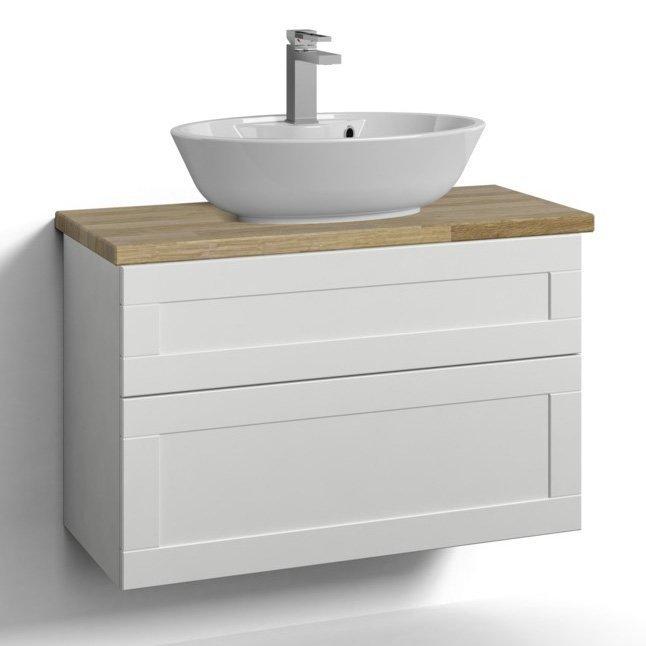 Allaskaappi Svedbergs Stil pöytätasolla ja malja-altaalla 80x35 valkoinen kehys