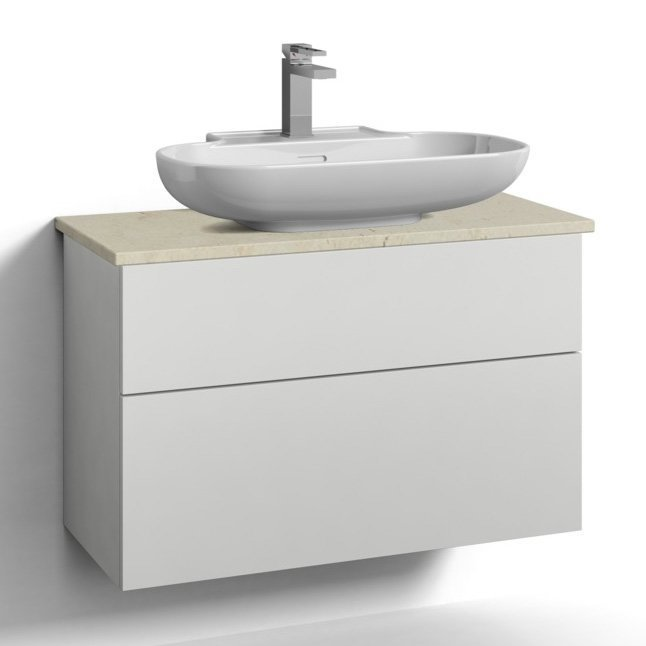 Allaskaappi Svedbergs Stil pöytätasolla ja malja-altaalla 80x35 valkoinen