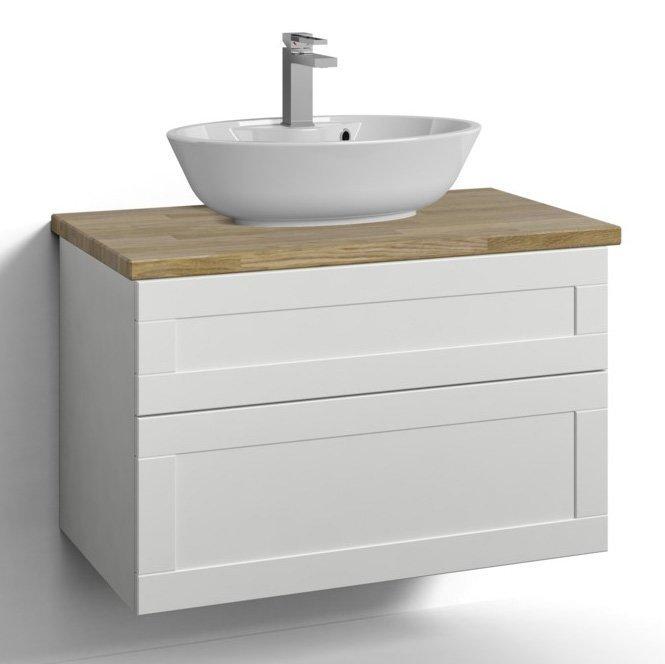 Allaskaappi Svedbergs Stil pöytätasolla ja malja-altaalla 80x45 valkoinen kehys