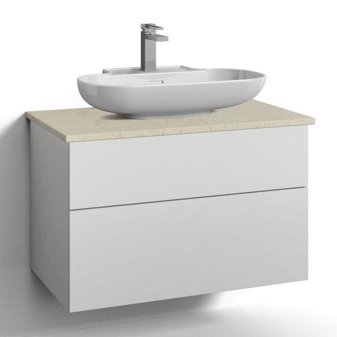 Allaskaappi Svedbergs Stil pöytätasolla ja malja-altaalla 80x45 valkoinen