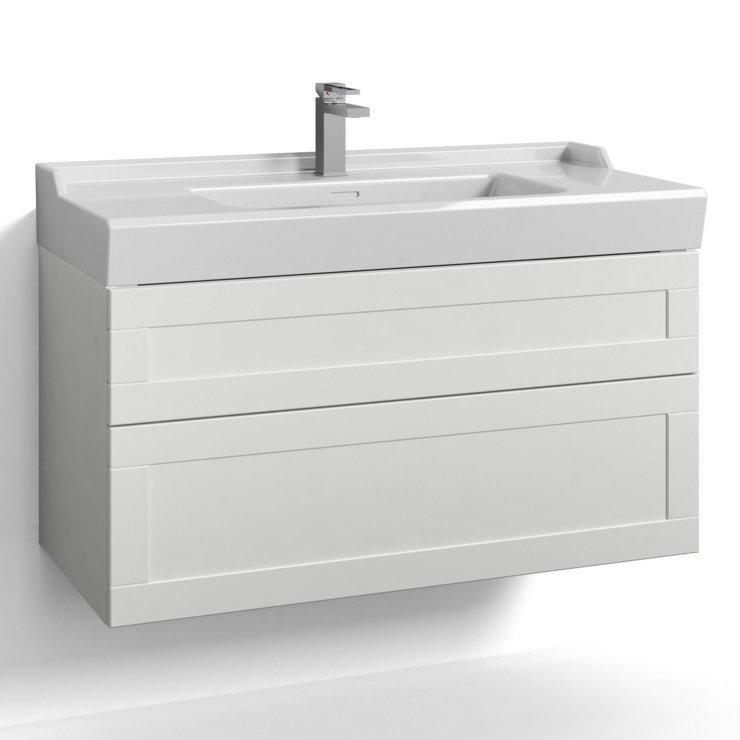 Allaskaappi Svedbergs Stil tasoaltaalla 100x45 valkoinen kehys