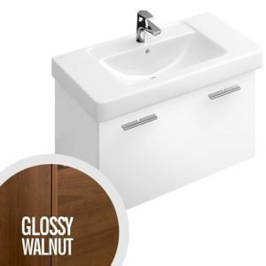 Allaskaappi Villeroy & Boch Central Line A274 750x430x450 mm Glossy Walnut + pesuallas