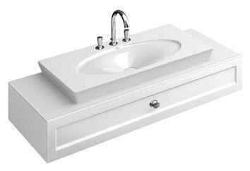 Allaskaappi vetolaatikolla Villeroy & Boch La Belle A582 1350x210x540 mm kiiltävä valkoinen + pesuallas