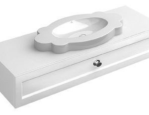 Allaskaappi vetolaatikolla Villeroy & Boch La Belle A586 1350x210x540 mm kiiltävä valkoinen + pesuallas