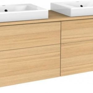 Allaskaappipaketti Gustavsberg Artic 48150 Natural Oak 1500x520x460 mm