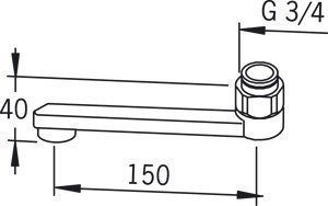 D-juoksuputki Oras 211215 pituus 150 mm