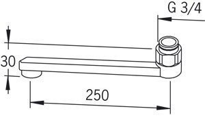 D-juoksuputki Oras 211225 pituus 250 mm