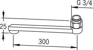 D-juoksuputki Oras 211230 pituus 300 mm