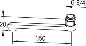 D-juoksuputki Oras 211235 pituus 350 mm