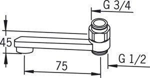 Ejektorijuoksuputki Oras 211508 pituus 75 mm