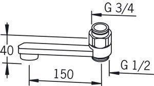 Ejektorijuoksuputki Oras 211515 pituus 150 mm