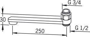 Ejektorijuoksuputki Oras 211525 pituus 250 mm