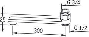 Ejektorijuoksuputki Oras 211530 pituus 300 mm