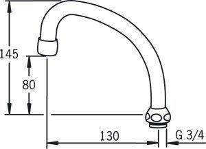 HU-juoksuputki Oras 213513 pituus 130 mm
