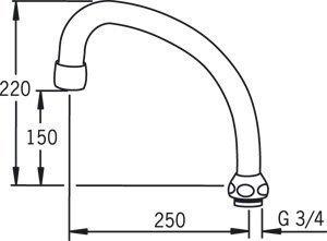 HU-juoksuputki Oras 213525 pituus 250 mm