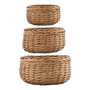House Doctor Baskets Small 3 Set Korit Luonnonvärinen
