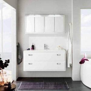 Kalusteryhmä Harmony 1200 allaskaappi + pesuallas + peilikaappi kiiltävä valkoinen
