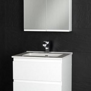 Kalusteryhmä Motion Square 600 allaskaappi + pesuallas + peilikaappi musta vaneri