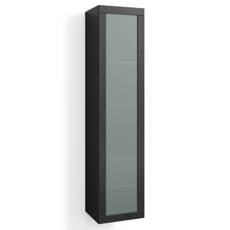 Korkea kaappi Svedbergs Stil Frost 40x172cm musta tammi huurrelasi
