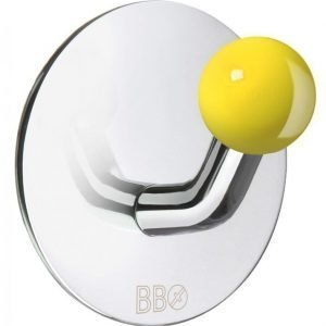 Koukku Smedbo B design tarrakiinnitteinen kiiltävä/keltainen nuppi