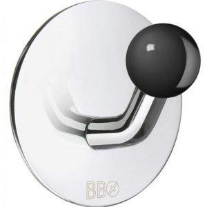 Koukku Smedbo B design tarrakiinnitteinen kiiltävä/musta nuppi