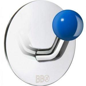 Koukku Smedbo B design tarrakiinnitteinen kiiltävä/sininen nuppi