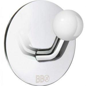 Koukku Smedbo B design tarrakiinnitteinen kiiltävä/valkoinen nuppi