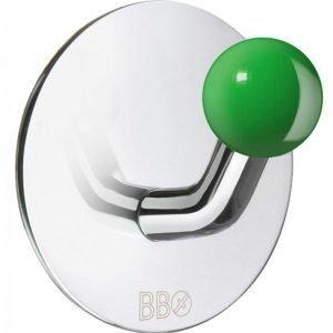 Koukku Smedbo B design tarrakiinnitteinen kiiltävä/vihreä nuppi