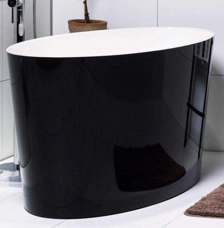 Kylpyamme Noro Sand Black 1582x718x650 mm valumarmori valkoinen/musta