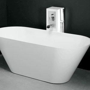 Kylpyamme Oval 158 tornihanalla valumarmori valkoinen